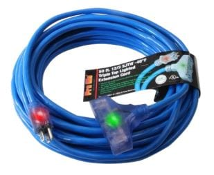 Pro Glo® 12/3 SJTW Lighted Triple Tap Extension Cord with CGM - 50'
